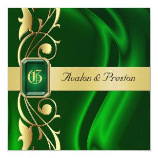 Marquis Green Silk Gold Scroll Emerald Invitation