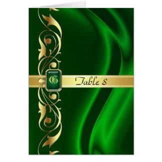 Marquis Green Silk Gold Scroll Table Card
