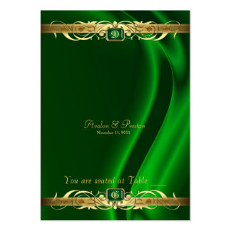 Marquis Green Silk Gold Scroll Table Placecard Business Card