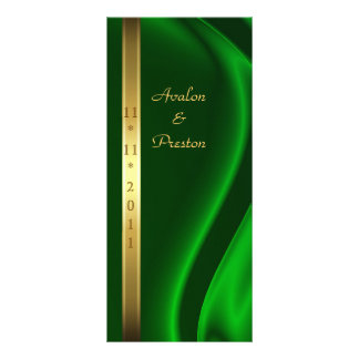 Marquis Green Silk Gold Wedding Program Rack Cards