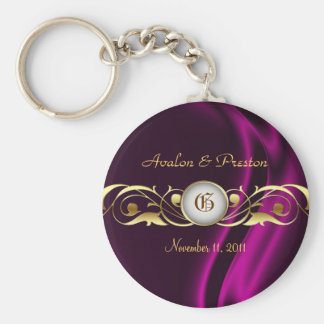Marquis Pink Silk Gold Scroll Pearl Keychain