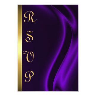 Marquis Purple Silk Gold RSVP Card 9 Cm X 13 Cm Invitation Card