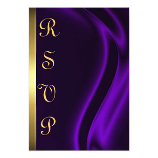 Marquis Purple Silk Gold RSVP Card Custom Invites