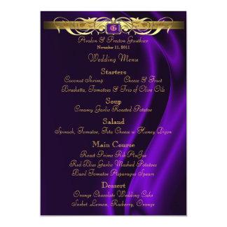Marquis Purple Silk Gold Scroll Wedding Menu Card