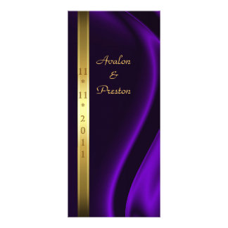 Marquis Purple Silk Gold Wedding Program 10 Cm X 23 Cm Rack Card