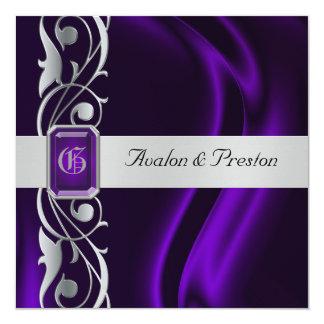 Marquis Purple Silk Silver Scroll Pearl Invitation