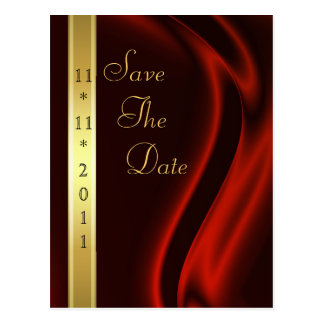 Marquis Red Silk Gold Save The Date Postcard
