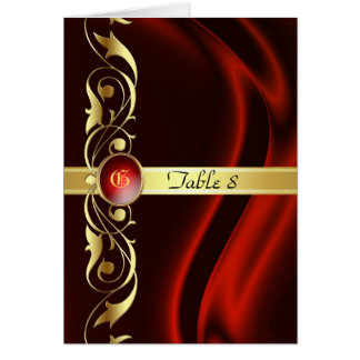 Marquis Red Silk Gold Scroll Table Card