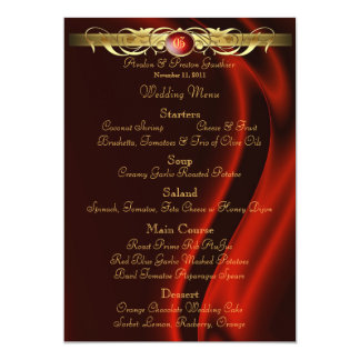 Marquis Red Silk Gold Scroll Wedding Menu 5x7 Paper Invitation Card