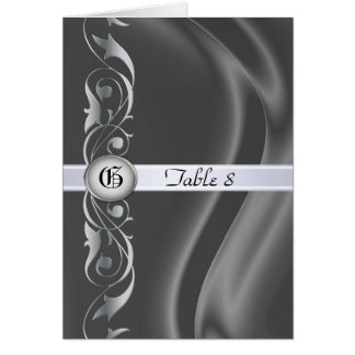 Marquis Silk Silver Scroll Table Card