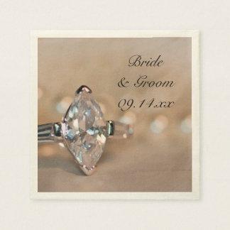Marquise Diamond Engagement Ring Wedding Disposable Napkins