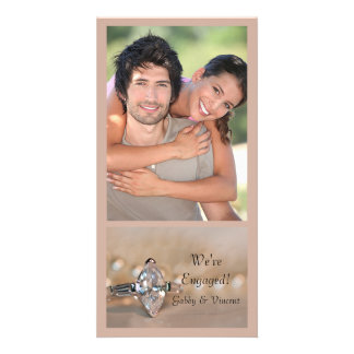 Marquise Diamond Ring Engagement Announcement Customised Photo Card