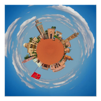 marrakech little planet morocco travel tourism lan poster