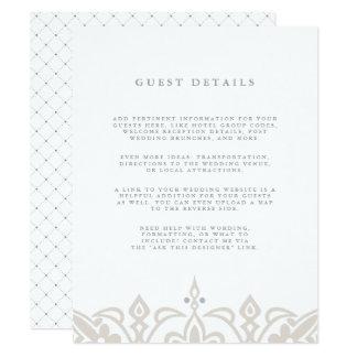 Marrakesh Guest Details Card | Linen Greige
