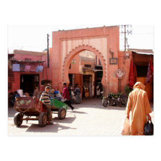 marrakesh medina door postcard