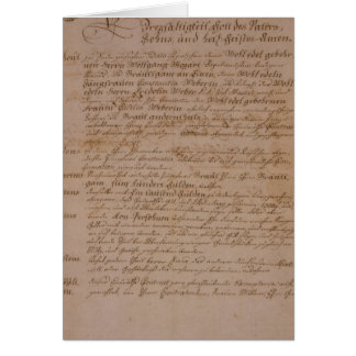 Marriage certificate of Wolfgang,Mozart and Weber Card