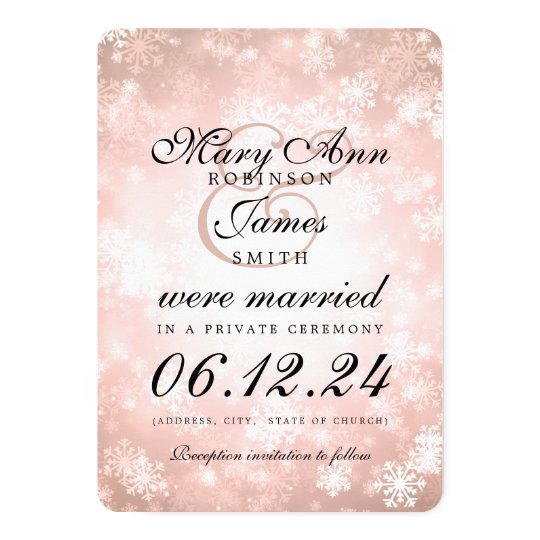 Marriage / Elopement Copper Winter Wonderland Card