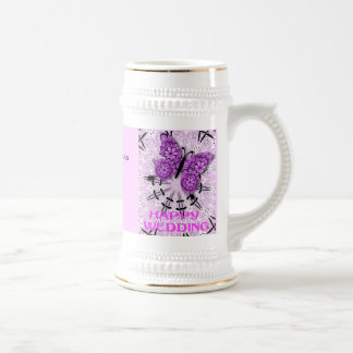 Marriage memories; Butterfly Pink a Beer Steins