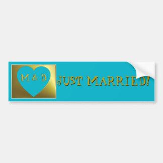 Marriage Monogram Blue Gold Heart Bumper Sticker