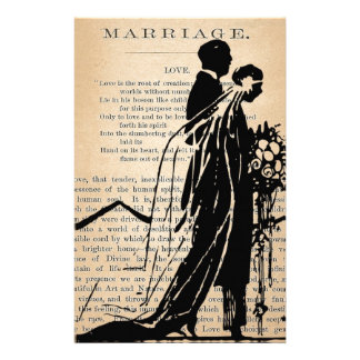 Marriage Poem by Longfellow Bride Groom Silhouette Personalized Stationery