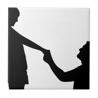 Marriage Proposal Silhouette Ceramic Tile