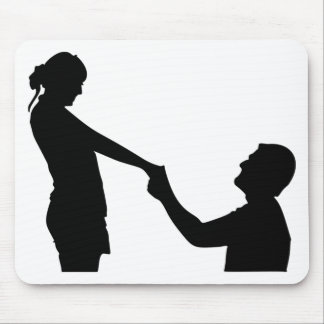 Marriage Proposal Silhouette Mouse Pad