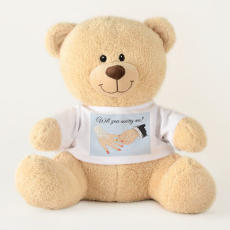 Marriage Proposal with Bride and Grooms Hands Teddy Bear