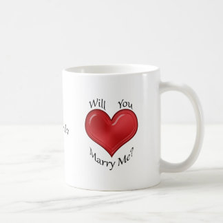 Marriage Proposal with Glossy Red Heart Basic White Mug