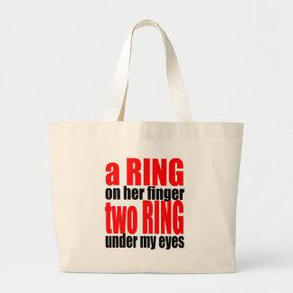 marriage reality ring finger eyes joke romance cou jumbo tote bag