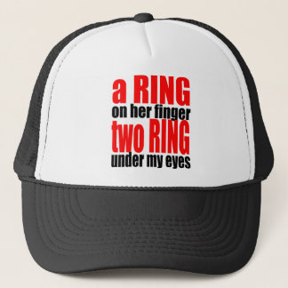 marriage reality ring finger eyes joke romance cou trucker hat