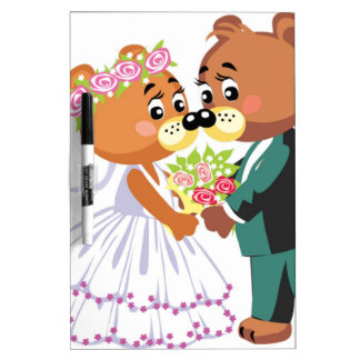 Marriage teddy bears kissing Dry-Erase whiteboards