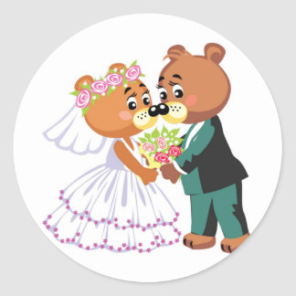 Marriage teddy bears kissing round sticker