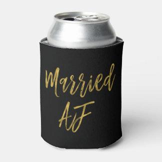 Married AF Black and Gold Foil Can Cooler