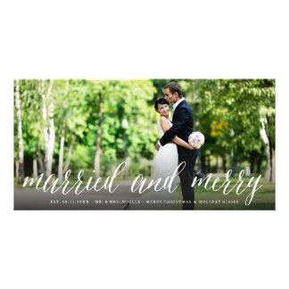 Married And Merry 1st Christmas Holiday Photo Card
