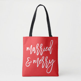 Married and Merry | Christmas Tote Bag