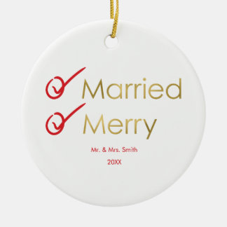 Married and Merry | Faux Gold Newlywed Photo Ceramic Ornament