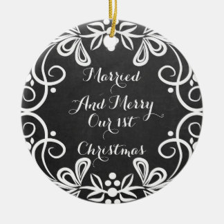 Married And Merry First Christmas Photo Chalkboard Round Ceramic Decoration