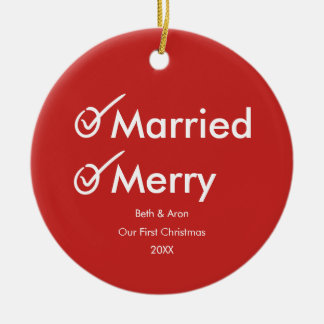 Married and Merry | First Christmas Witty Photo Ceramic Ornament
