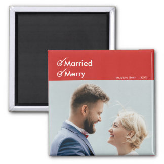 Married and Merry | First Married Christmas Photo Magnet