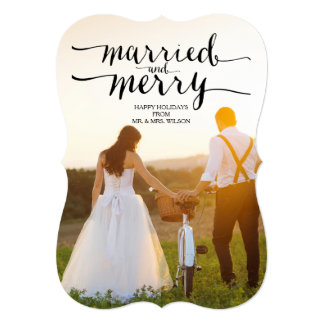 MARRIED AND MERRY | HOLIDAY PHOTO CARD 13 CM X 18 CM INVITATION CARD