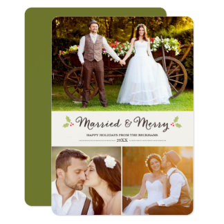 Married and Merry Holly Christmas Photo Card 13 Cm X 18 Cm Invitation Card