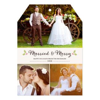 Married and Merry Holly Christmas Photo Card 13 Cm X 18 Cm Invitation Card