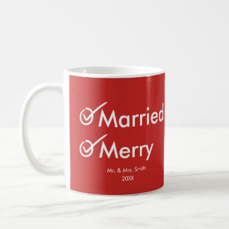 Married and Merry | Newlywed | First Christmas Coffee Mug