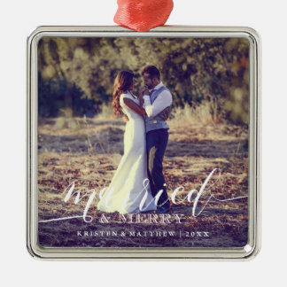 Married and Merry Newlyweds Christmas Photo Metal Ornament