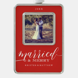 Married and Merry Newlyweds Christmas Photo Silver Plated Framed Ornament