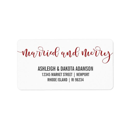 Married And Merry Red Calligraphy   Newlywed Photo Address Label