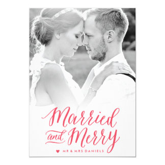 Married and Merry Red Holiday Photo Card