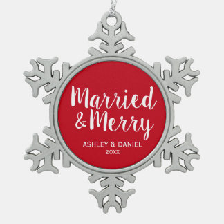 Married and Merry Wedding Red Snowflake Pewter Christmas Ornament