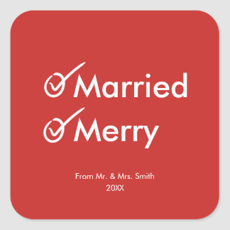 Married and Merry | Witty First Married Christmas Square Sticker