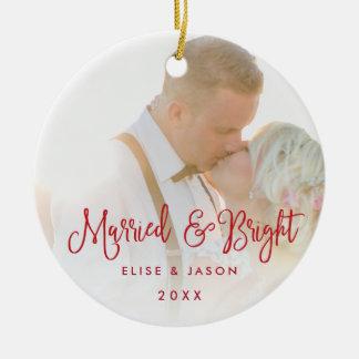 Married & Bright | Wedding Photo Ceramic Ornament